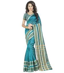 Buy Blue plain chanderi silk saree With Blouse chanderi-saree online