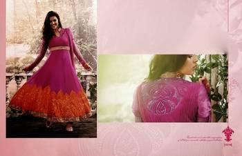 Designer Pink and Orange Anarkali Dress 1014