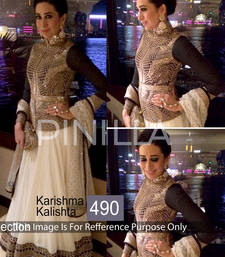 Buy white embrodired georgette unstitched bollywood lehengas bollywood-lehenga online