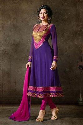 Blue Colour Georgette Salwar Kameez With Pink Chiffon Dupatta