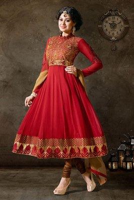 Dark Red Colour Embroidery Work Georgette Salwar Kameez