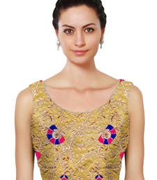 Buy Golden raw silk embroidered unstitched blouse fabric blouse-fabric online