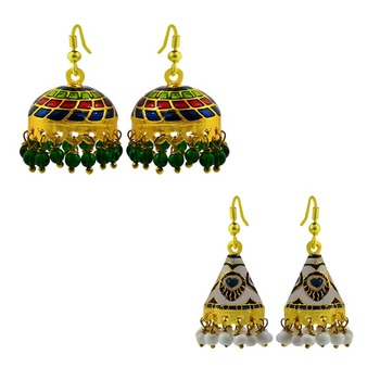 Meenakari tokri and cone shaped jhumki