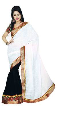 Black And White Embroidered Sarees  by Fabfiza