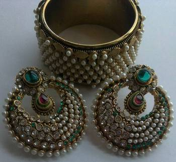 Designer Traditional Earings with Traditional Kadas