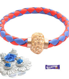 Buy Magnetic Braided & Stone Studded Royal Blue and White  Bracelet Rakhi For Brother bracelet-rakhi online