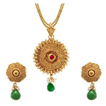 green kundan pendants