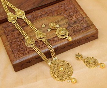 Gorgeous gold plated long necklace set