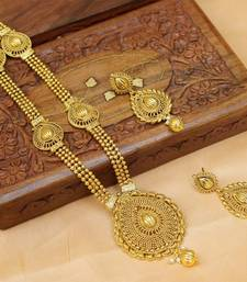 Buy Gorgeous gold plated long necklace set south-indian-jewellery online