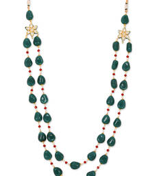 Buy Green Semi Precious stones and Red crystals Necklace Necklace online
