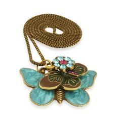 Buy Antique Gold Blue Butterfly Pendant for Girls Pendant online