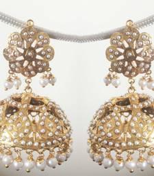 Buy Pearls Jadau Light weight large Jhumka black-friday-deal-sale online