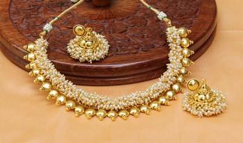 Beautiful Designer Gold plated necklace set with jumkas