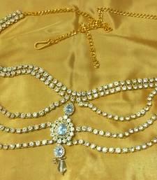 Buy Designer Austrian Diamonds White Waist Belt Kamarband Belly Chain waist-belt online