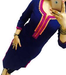 Buy Blue embroidered georgette semi stitched kurti cotton-kurti online