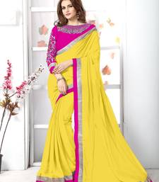 Buy Yellow plain chiffon saree with blouse chiffon-saree online