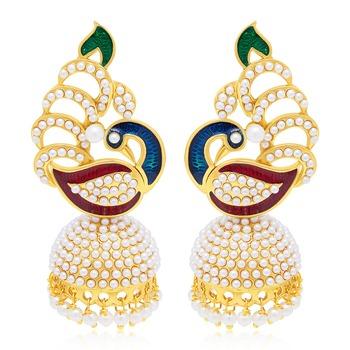 Delightful Peacock Gold Plated Earring For Women