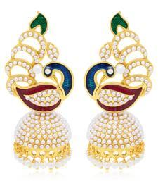 Buy Delightful Peacock Gold Plated Earring For Women jhumka online