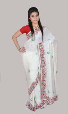 Designer White Saree