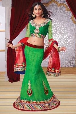 Refreshing Green Net Lehanga Choli Decked with Diamond and Hand work Butta