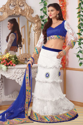 Attractive White Net Lehanga Choli Garnished With Lace,Moti and Diamond work