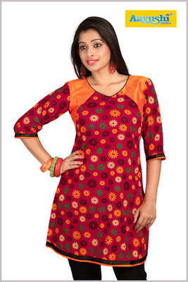 Maroon Cotton Flower Printed Kurti