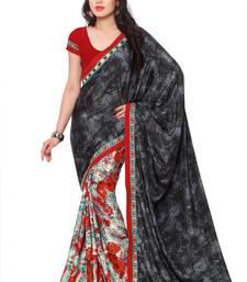 Buy black printed art silk saree With Blouse printed-saree online