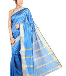 Buy Pavecha's Banarasi Patta Cotton Silk Saree - Blue MK787 cotton-saree online