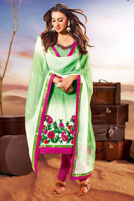 Beautiful Embroidery Worked Green Crepe Salwar Kameez