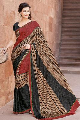 Maroon and Black Art Silk Printed Saree