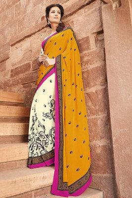 Yellow and Cream Art Silk Saree with Beautiful Flower Print