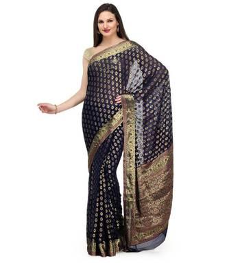 Navy Blue Zari Woven Viscose Saree Banarasi Chiffon Sari With Heavy Pallu