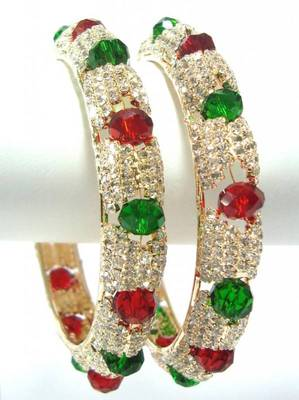 Broad maroon green crystal bangle 11466