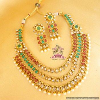 Antique Multicolour Polki Necklaces