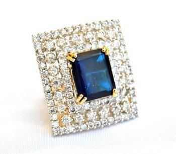 Rectangular Sapphire Diamond Ring