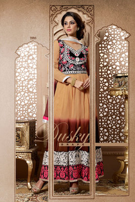 Awesome Beige Georgette Anarkali Suit With Embroidery