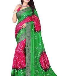 Buy parrot green hand woven bandhani saree With blouse bandhani-sarees-bandhej online