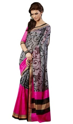 Triveni Amazing Grey Indian Traditional Bhagalpuri Silk Printed Saree TSVD19025