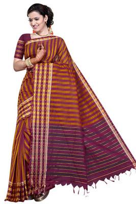 Triveni Charming Yellowed Printed Cotton Saree TSMRCC406