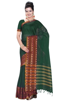 Triveni Beautiful Green Border Work Cotton Saree TSMRCC419