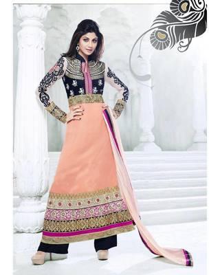 Peach Faux Georgette Churidar Salwar Kameez anarkali dress party festival weddings gift