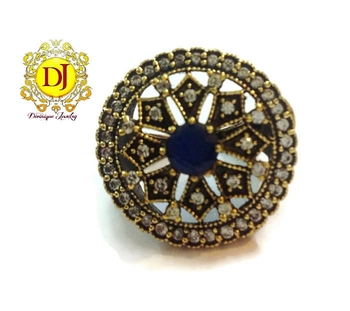 Blue sapphire n AD Victorian cocktail ring