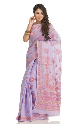mauve embroidered cotton  lucknowi chikankari saree with blouse