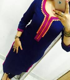 Buy Blue embroidered georgette stitched kurti georgette-kurti online