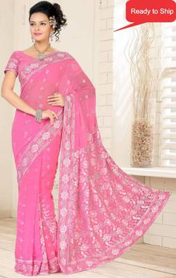 Pink Color Faux Chiffon Saree with Blouse