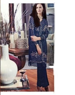 Blue Designer Georgette Salwar kamiz