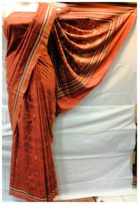 Pure Silk Kantha Saree in Rust color k10