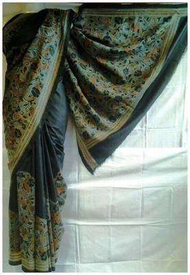 Silk Kantha Saree in black color k1