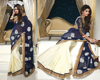 Hypnotex Satin Jacquard+Georgette Nevy Blue+Off White Saree Shringaar 5105