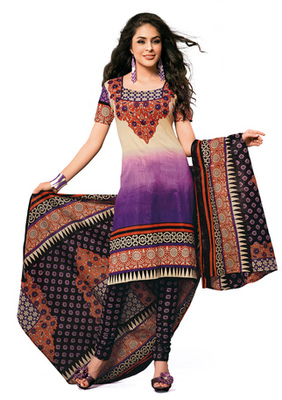 Hypnotex Cotton Purple Dress Materials  Disha 1019